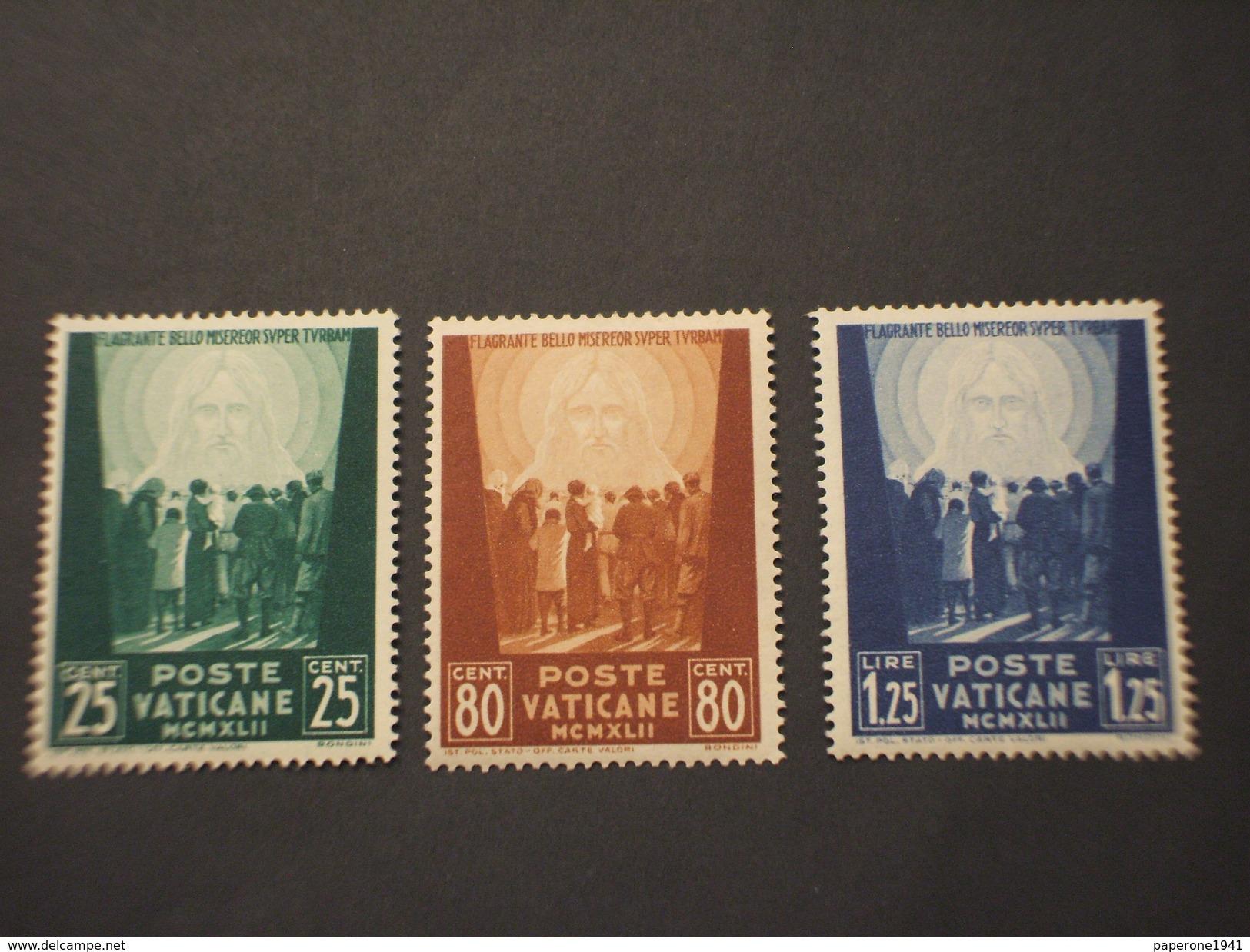 VATICANO - 1942 FLAGRANTE  3 VALORI X 5 Serie  - NUOVI(++) - Vaticano