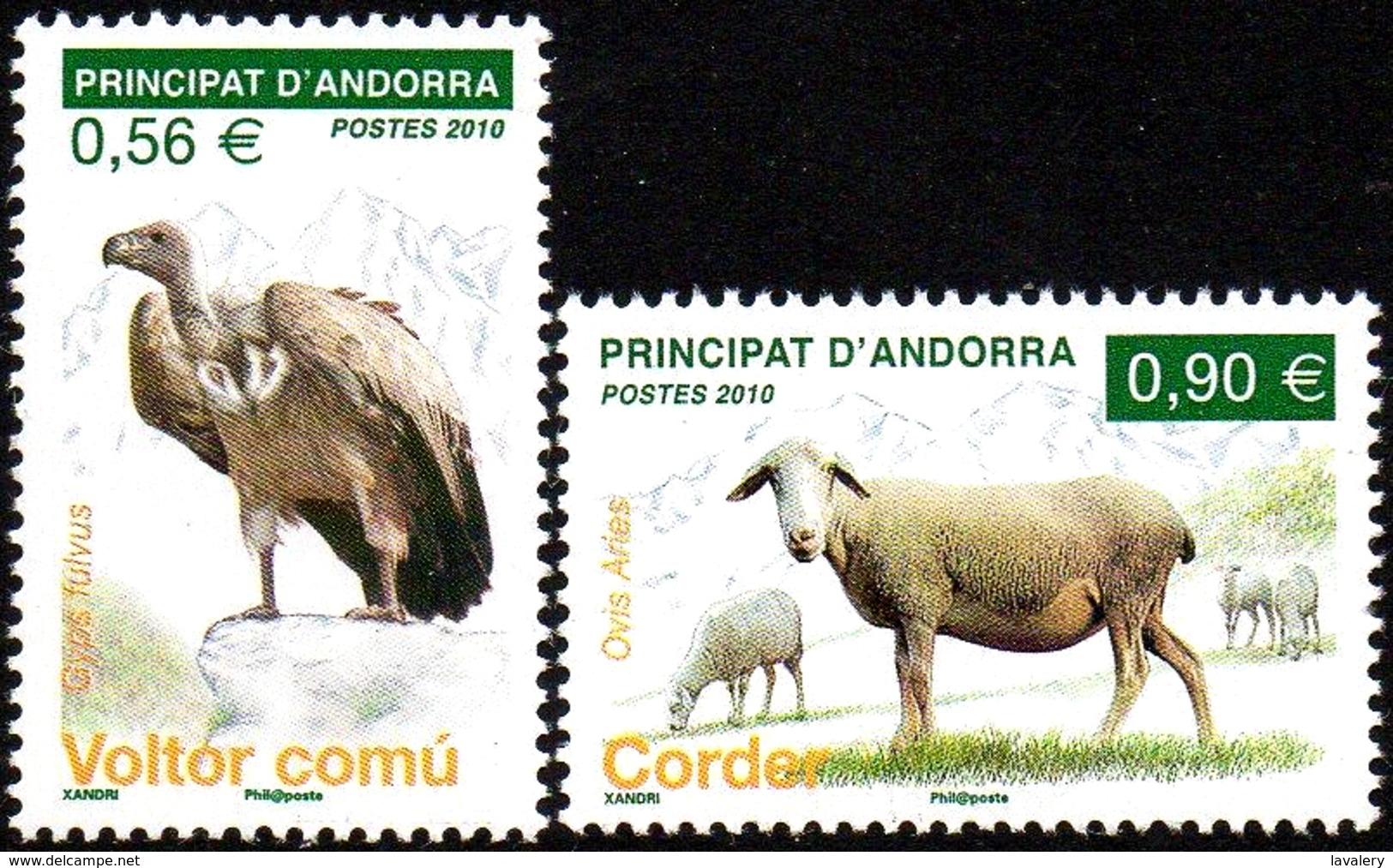 FRENCH ANDORRA 2010 Griffon Vulture, Domestic Sheep, Fauna MNH - French Andorra