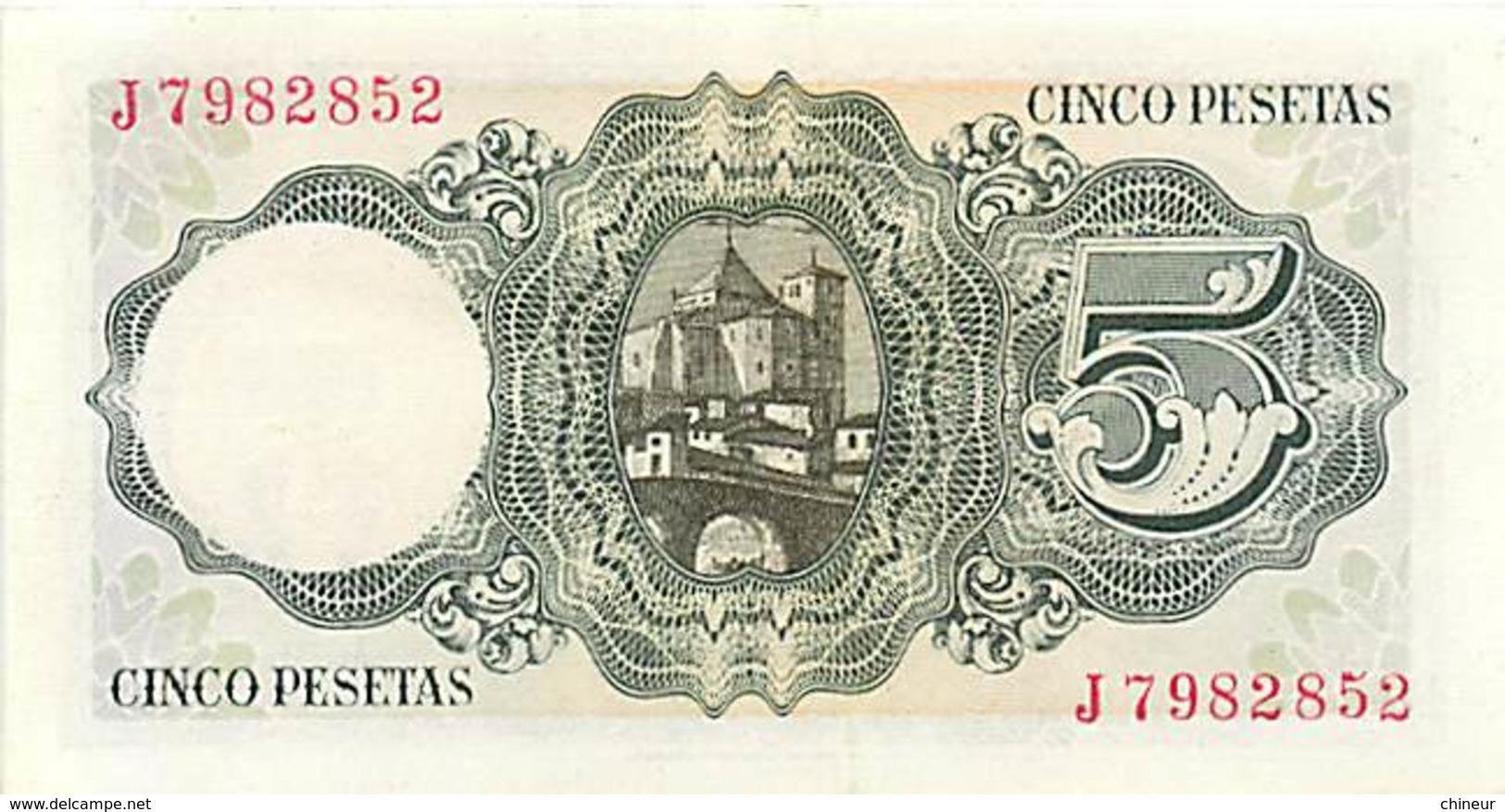 ESPAGNE BILLET 5 PESETAS 1951 - [ 3] 1936-1975 : Régence De Franco