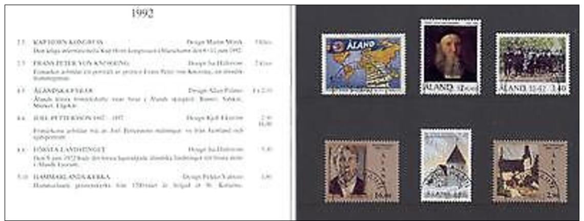 Aland Isl 566 Year Set 1992 Special Folder 6v CV 12.60 Eur - Aland