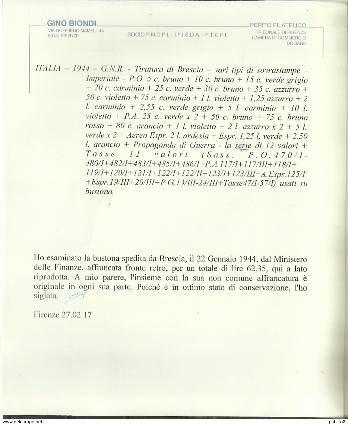 ITALIA REGNO REPUBBLICA SOCIALE ITALY 1944 RSI GNR BRESCIA STRAORDINARIO BUSTONE COVER BUSTA CERTIFICATO - Vari
