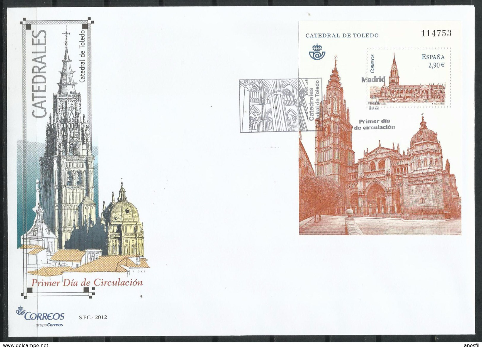 """España_FDC_2012_Catedrales. """"Catedral De Toledo"""" - FDC"""