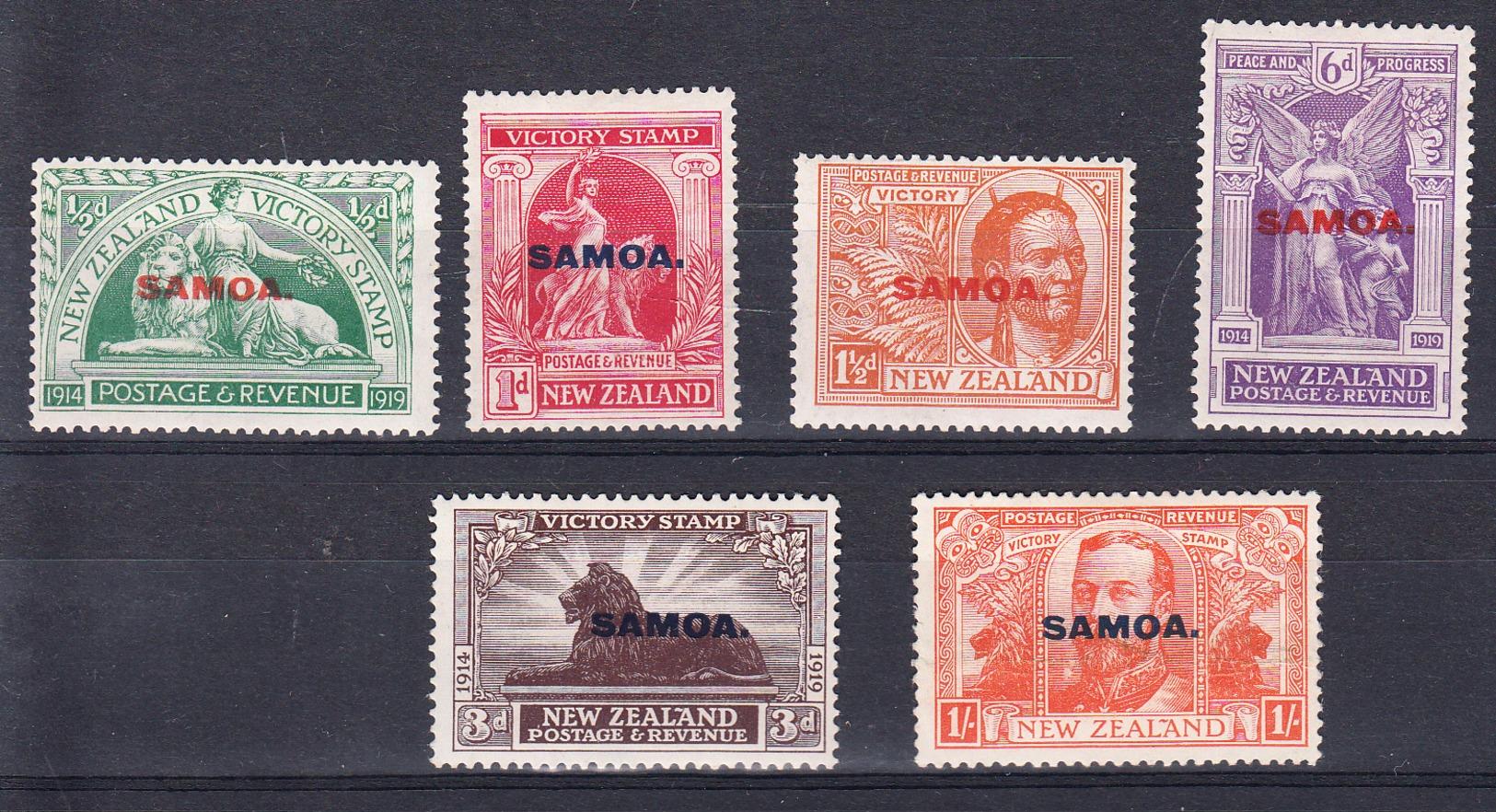 SAMOA 1920.COMPLETE SET  VICTORY STAMP  NEW ZEALAND OVERPRINTS.SCOTT 136/141  MLH. SES869 - Samoa