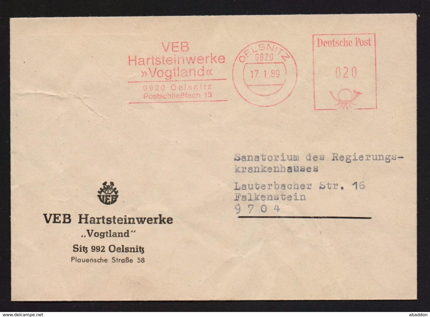 "DDR AFS - VEB Hartsteinwerke ""Vogtland"", OELSNITZ 17.1.89 (88) - Poststempel - Freistempel"