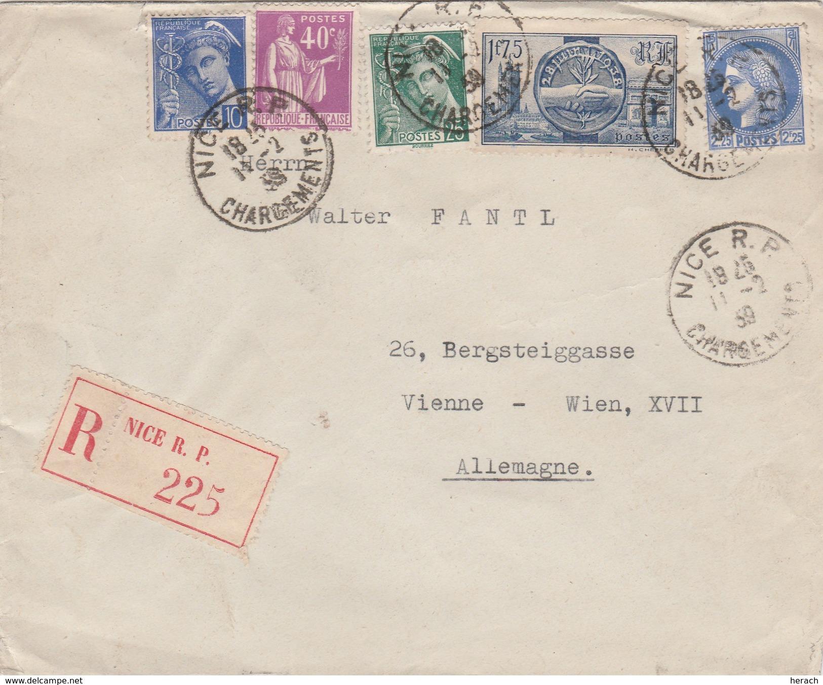 France Lettre Recommandée Nice Pour L'Allemagne 1939 - 1921-1960: Modern Period