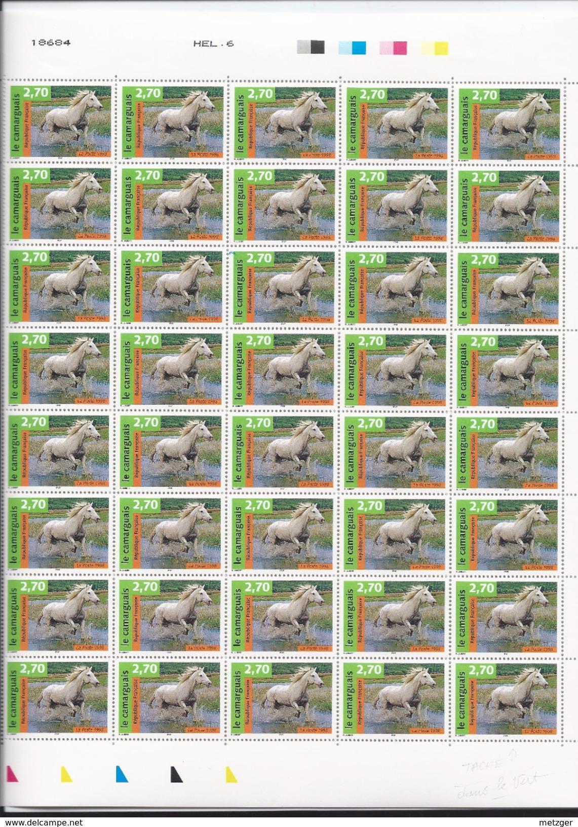 Feuille De  40  Timbres Du N° 3182, Chevaux, Le Camarguais. - Feuilles Complètes