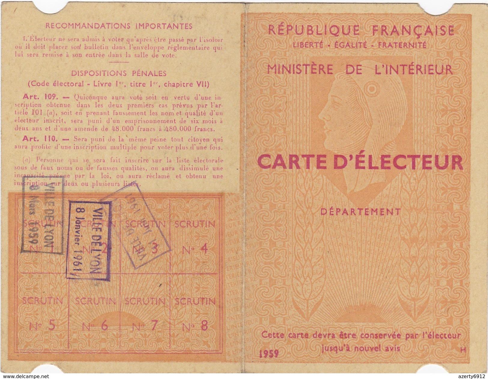 VIEUX PAPIER CARTE ELECTEUR DE 1959 DE LYON - Cartes