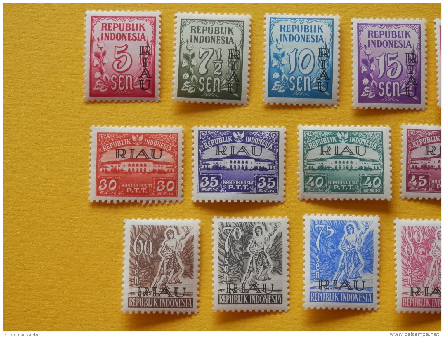 "Indonesia, Riau 1954, OVERPRINT ""RIAU"": Mi 1-22, * - Indonesia"