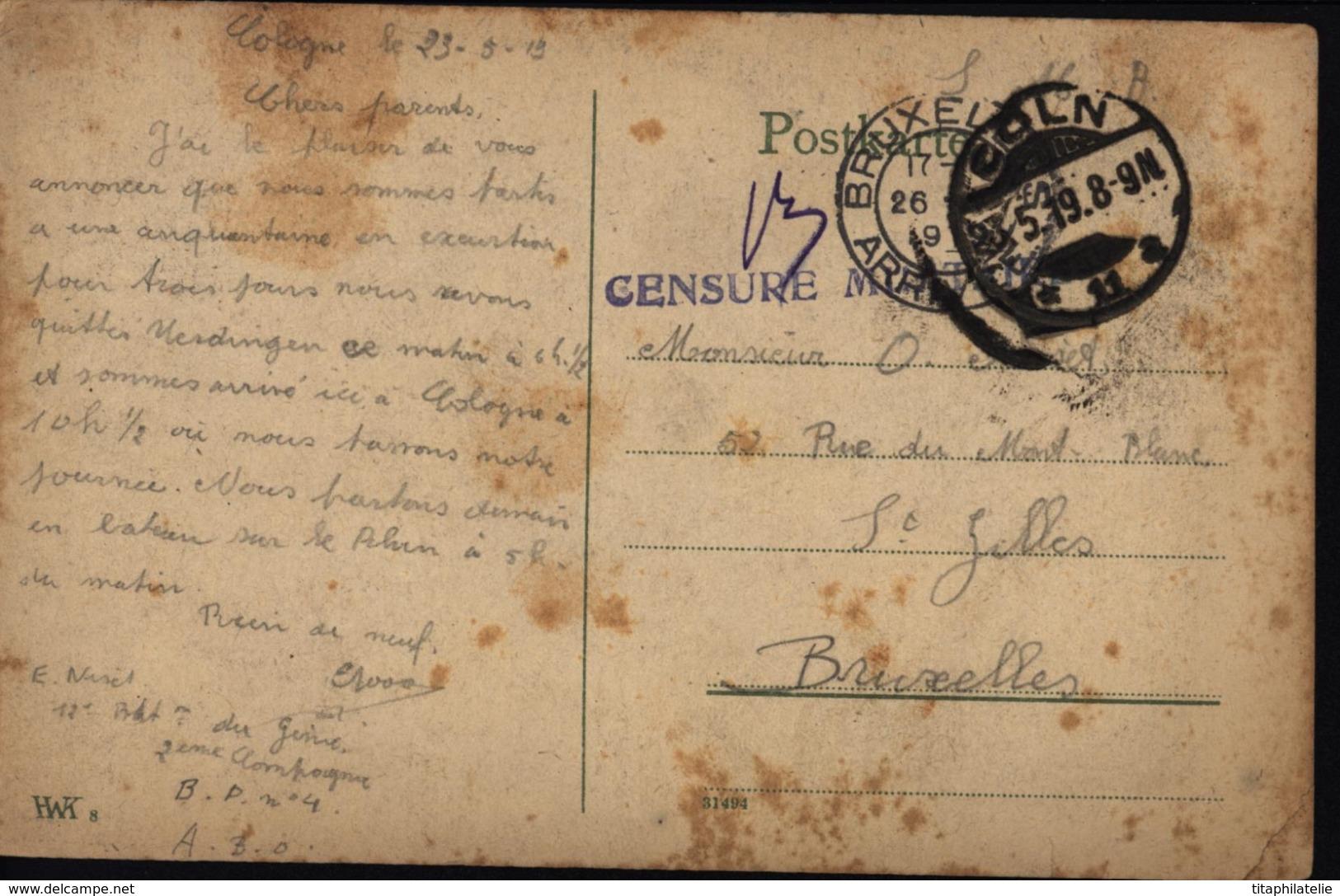 Armée Belge D'occupation De Allemagne ABO Censure Militaire CP De Koln Coln Cologne FM Franchise Militaire - Zone Belge