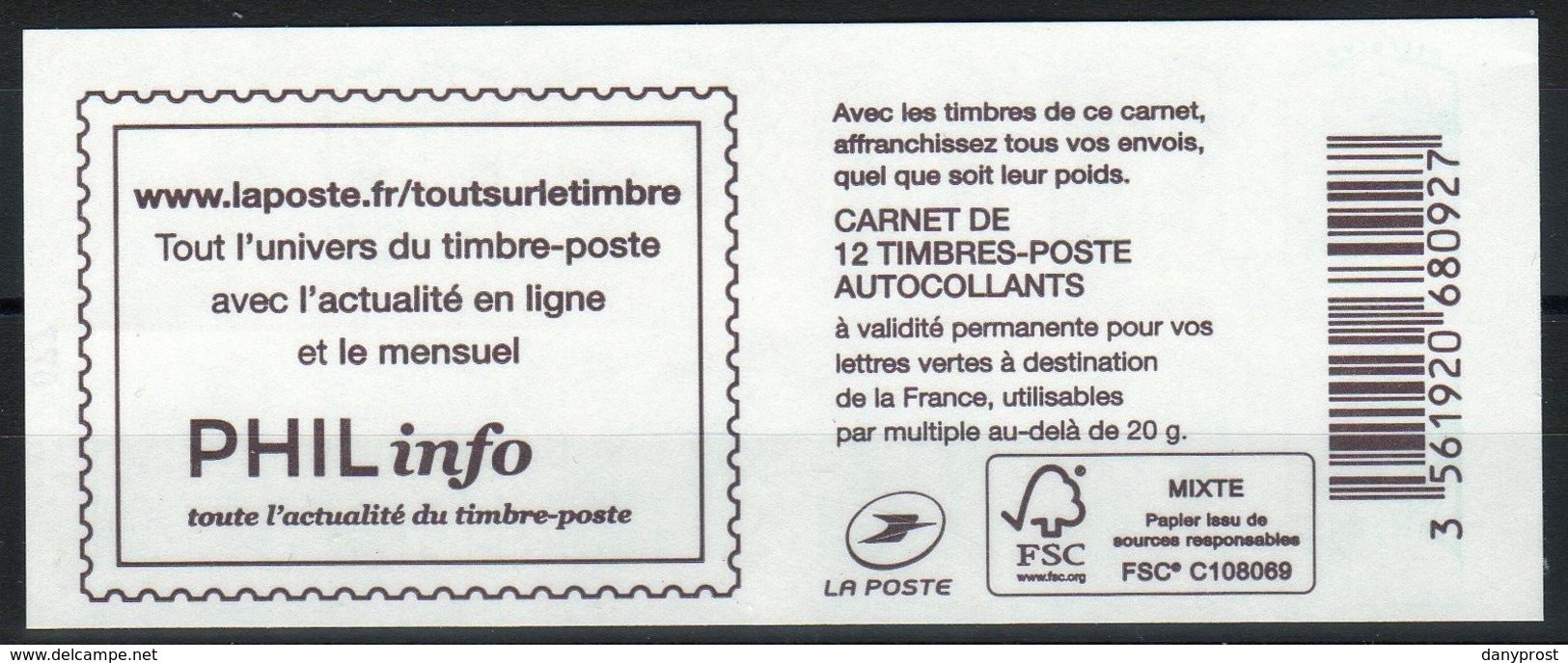 "CARNET 1215-C.. / 12 MARIANNE CIAPPA TVP VERT SANS GRAMMAGE / COUVERTURE "" PHILinfo "" NEUF - Carnets"