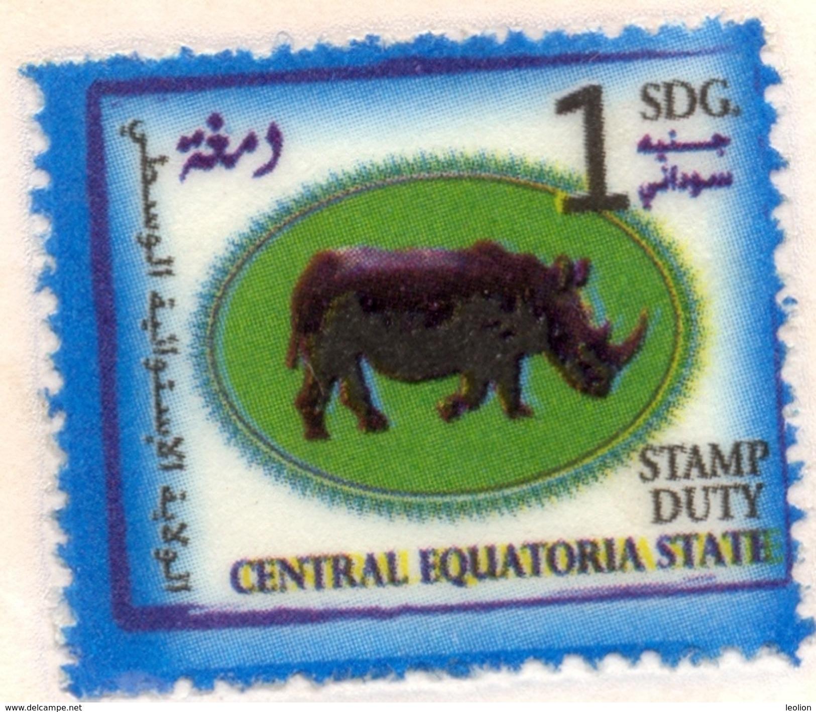 SOUTH SUDAN Südsudan 1 SDG Revenue / Fiscal Stamp Central Equatoria State RHINO Timbres Fiscaux Soudan Du Sud RARE! - South Sudan