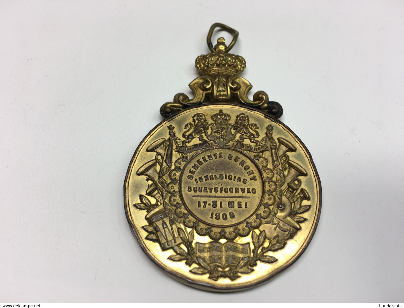 Leopold II Koning Der Belgen Inhuldiging Buurtspoorweg 1908 Gemeente Burcht Madaille Spoorwegen Chemin De Fer - Belgique