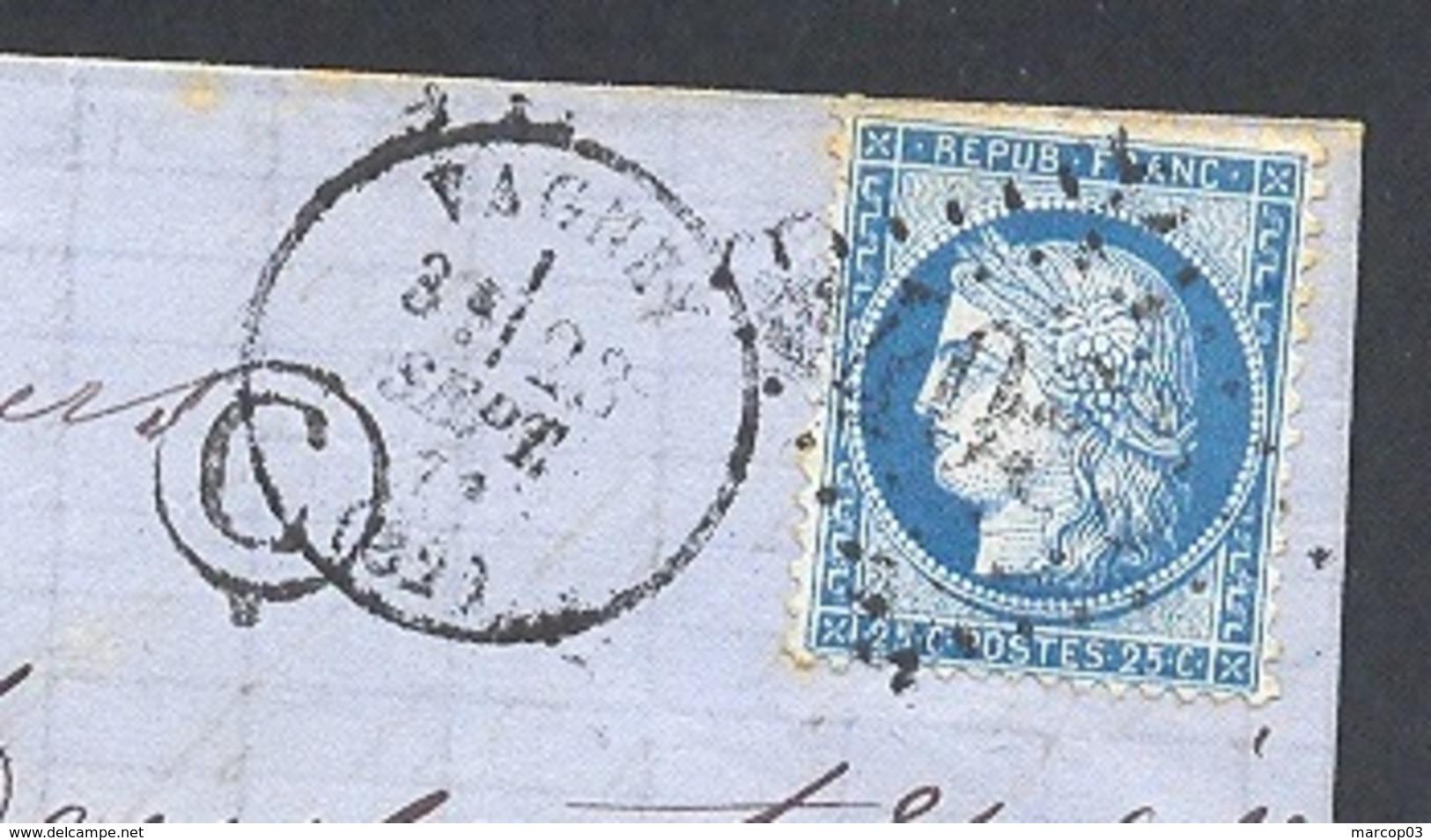 VOGES 88 VAGNEY LAC TAD Type 16 Du 23/09/1871 GC 4063 Sur N° 60 Boite Rurale C = Thiéfossé  TTB - Marcophilie (Lettres)