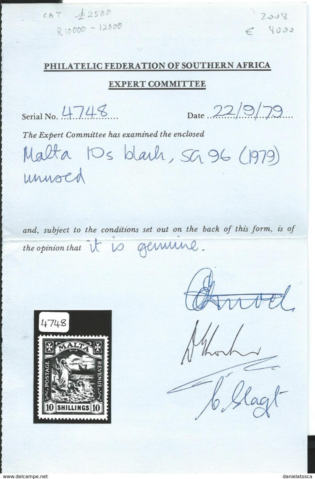 Malta. UNIF 53, Gibbons 96, Scott 65  ** Certificato P-F.S.A-( Unificato 2009 Euro 8000) - Malta
