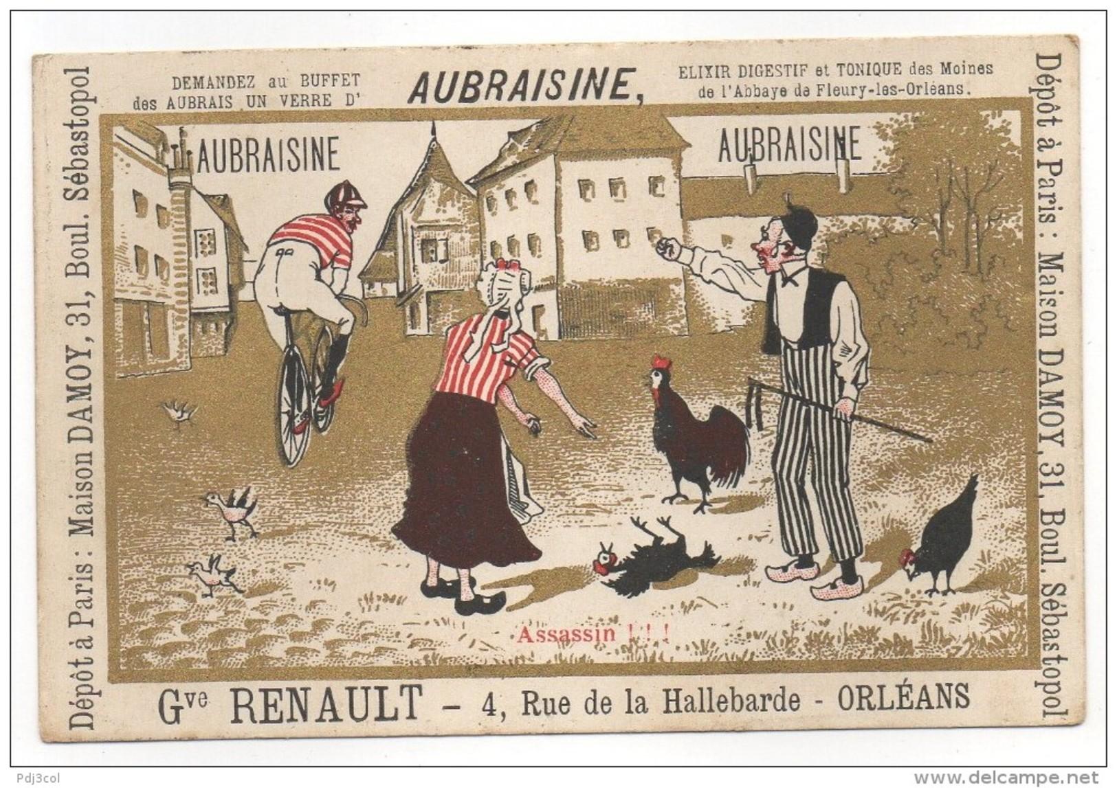 AUBRAISINE - Assassin !!! - (cycliste écrasant Une Poule) - Gve RENAULT - ORLEANS - Chromo
