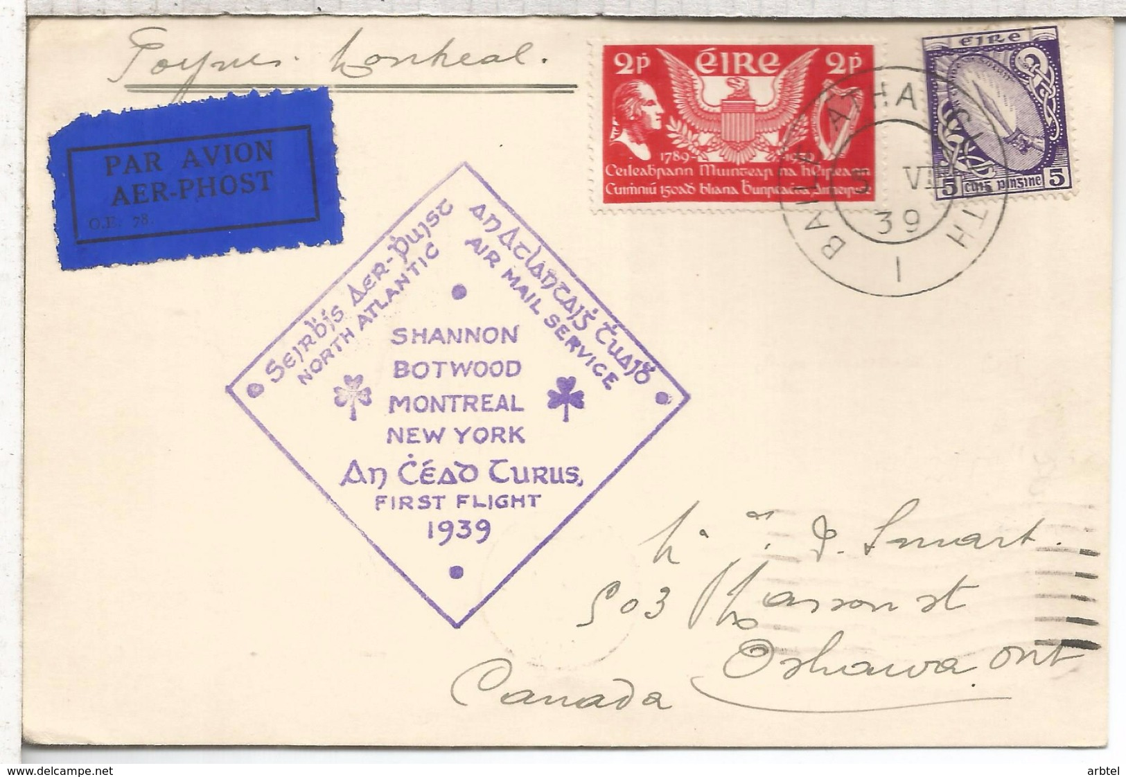 IRLANDA 1939 TARJETA PRIMER VUELO NORTH ATLANTIC FLIGHT SHANNON BOTWOOD MONTREAL NEW YORK AL DRSO MAT MONTREAL - 1937-1949 Éire