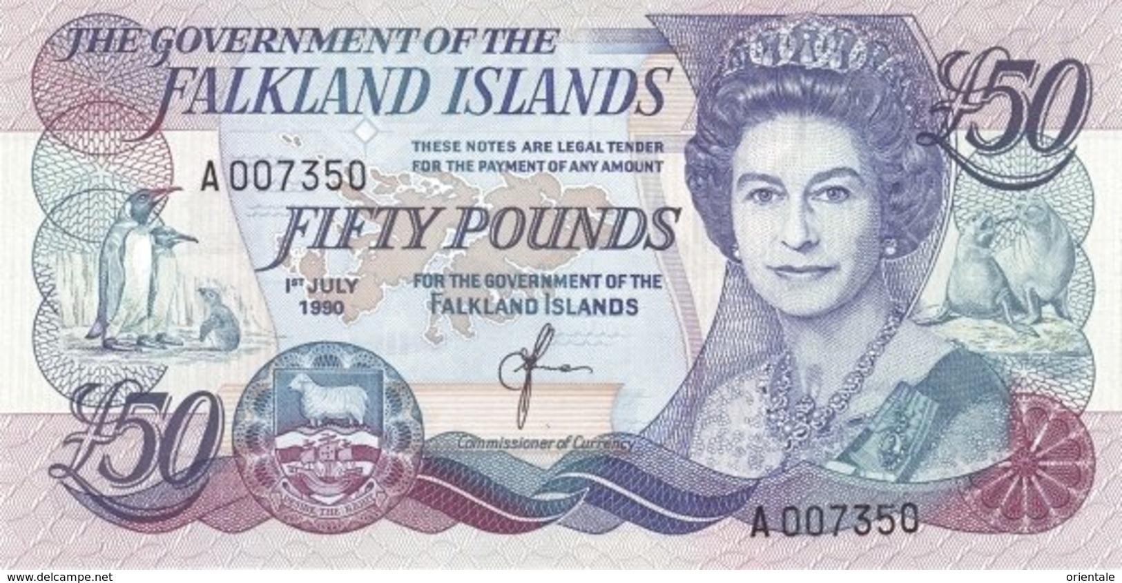 FALKLAND ISLANDS P. 16a 50 P 1990 UNC - Falkland