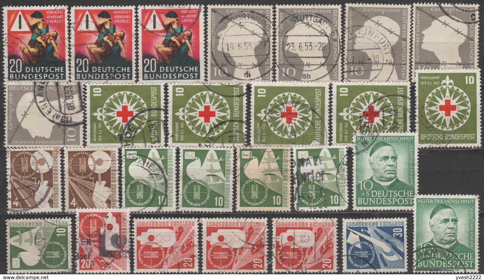 Allemagne 1953. Petit Lot. Y&T 48 X 3, 49 X 5, 50 X 5, 53 X 2, 54 X 5, 55 X 5, 56, 62 X 2. Cote 238 € - [7] République Fédérale