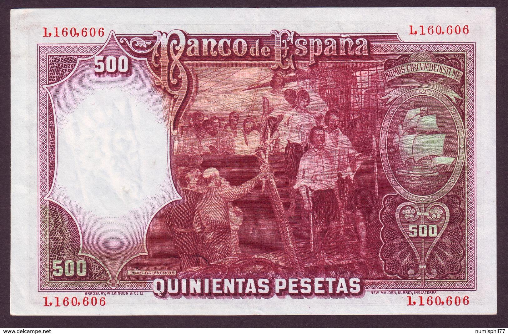 ESPAGNE - 500 PESETAS Jùan Sebastiàn De Elcano Du 25/04/1931 - [ 2] 1931-1936 : Republic