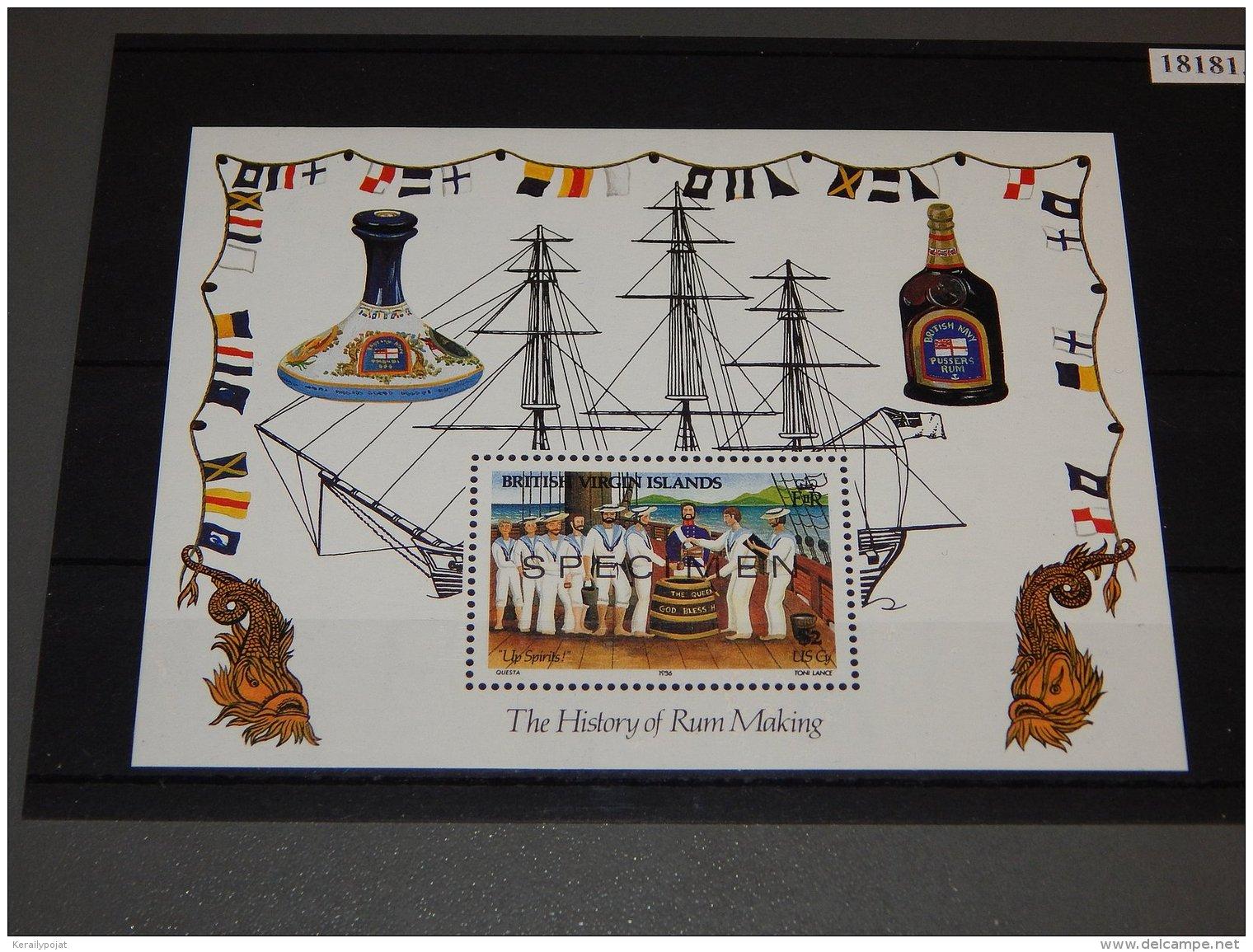 British Virgin Islands - 1986 Rum Production Specimen Block MNH__(TH-18181) - British Virgin Islands