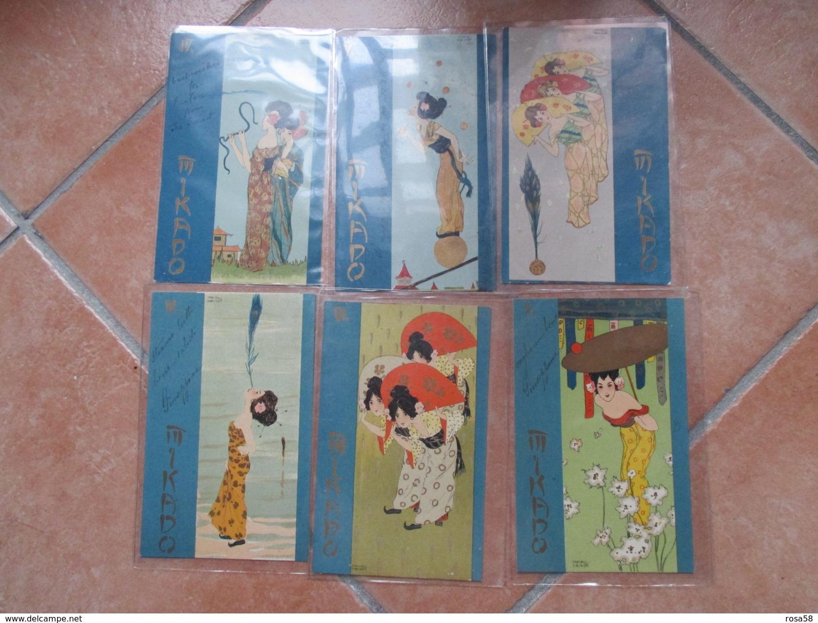 Raphael KIRCHNER Serie Completa MIKADO N.6 Different Postcards Originali Epoca Viaggiate Affrancate - Kirchner, Raphael
