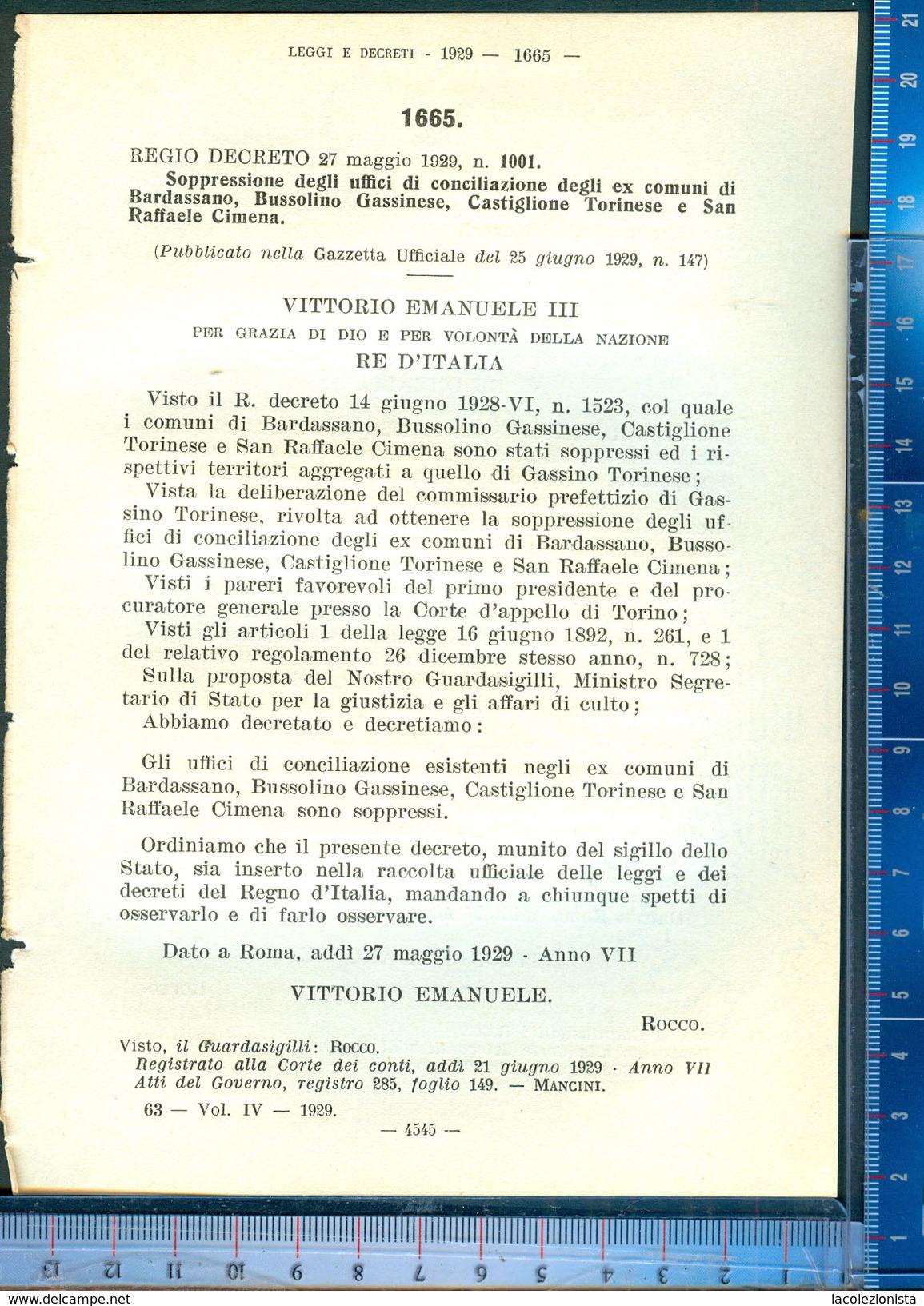 393D/57  REGIO DECRETO MAGGIO 1929 SOPPRESSIONE ... EX COMUNI BARDASSANO,BUSSOLINO GASSINESE CASTIGLIONE TORINESE CIMENA - Decrees & Laws