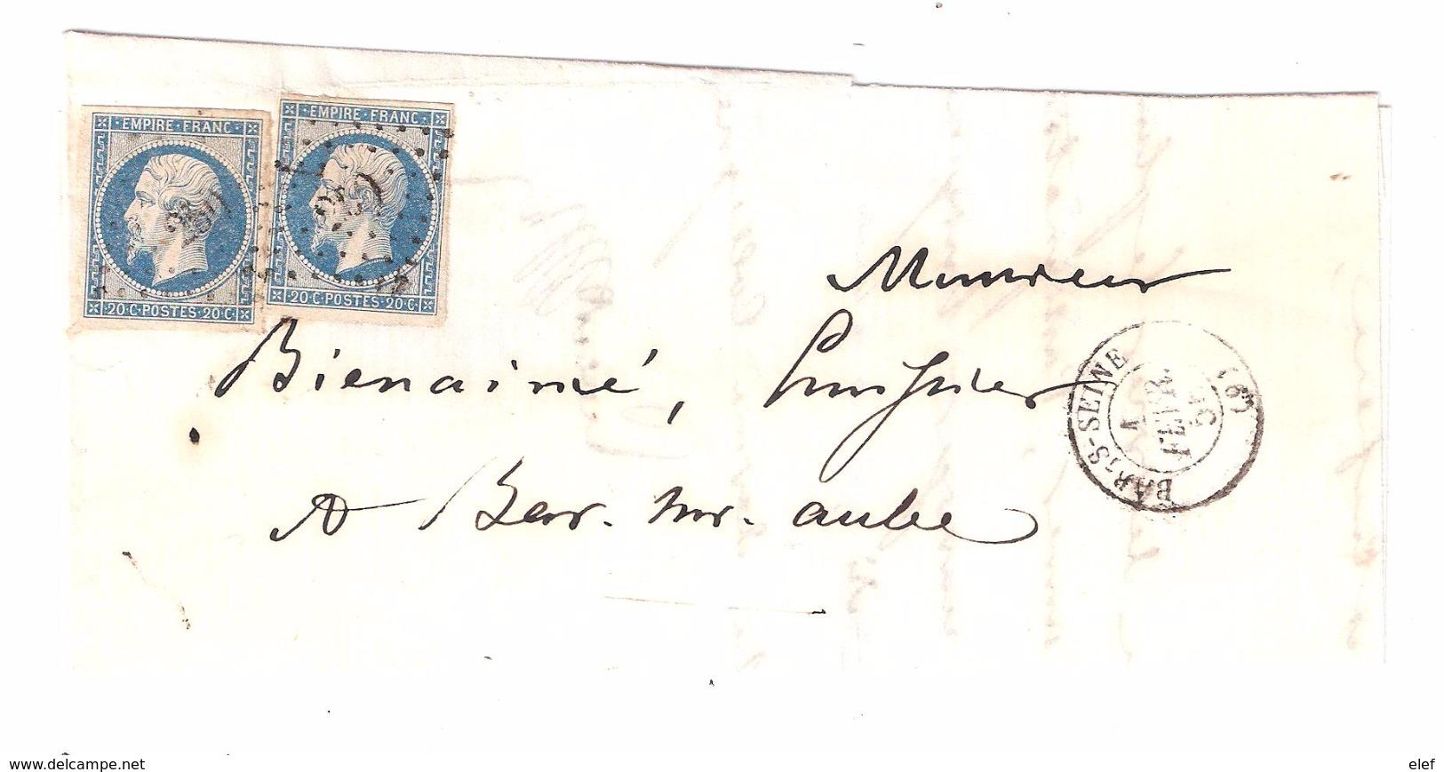 Lettre Locale De BAR Sur SEINE, Aube, Tarif  DOUBLE PORT, 1 Février 1856 Pc 250 Sur N° 14 A F BLEU LAITEUX X 2 ,TTB - Postmark Collection (Covers)