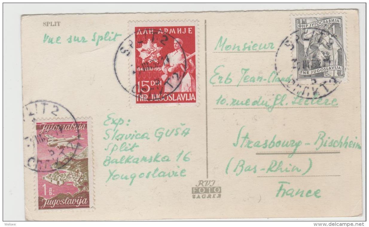 Yu109 / JUGOSLAWIEN -  Mischfrankatur Auf Karte Aus Split Nach Strassburg - 1945-1992 Socialist Federal Republic Of Yugoslavia
