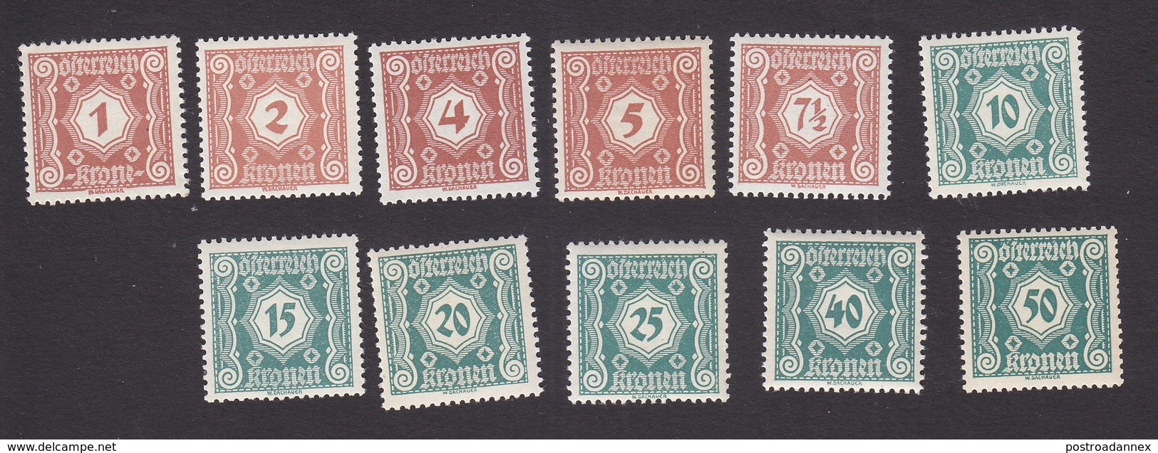 Austria, Scott #J103-J113, Mint Never Hinged, Postage Due, Issued 1922 - Postage Due