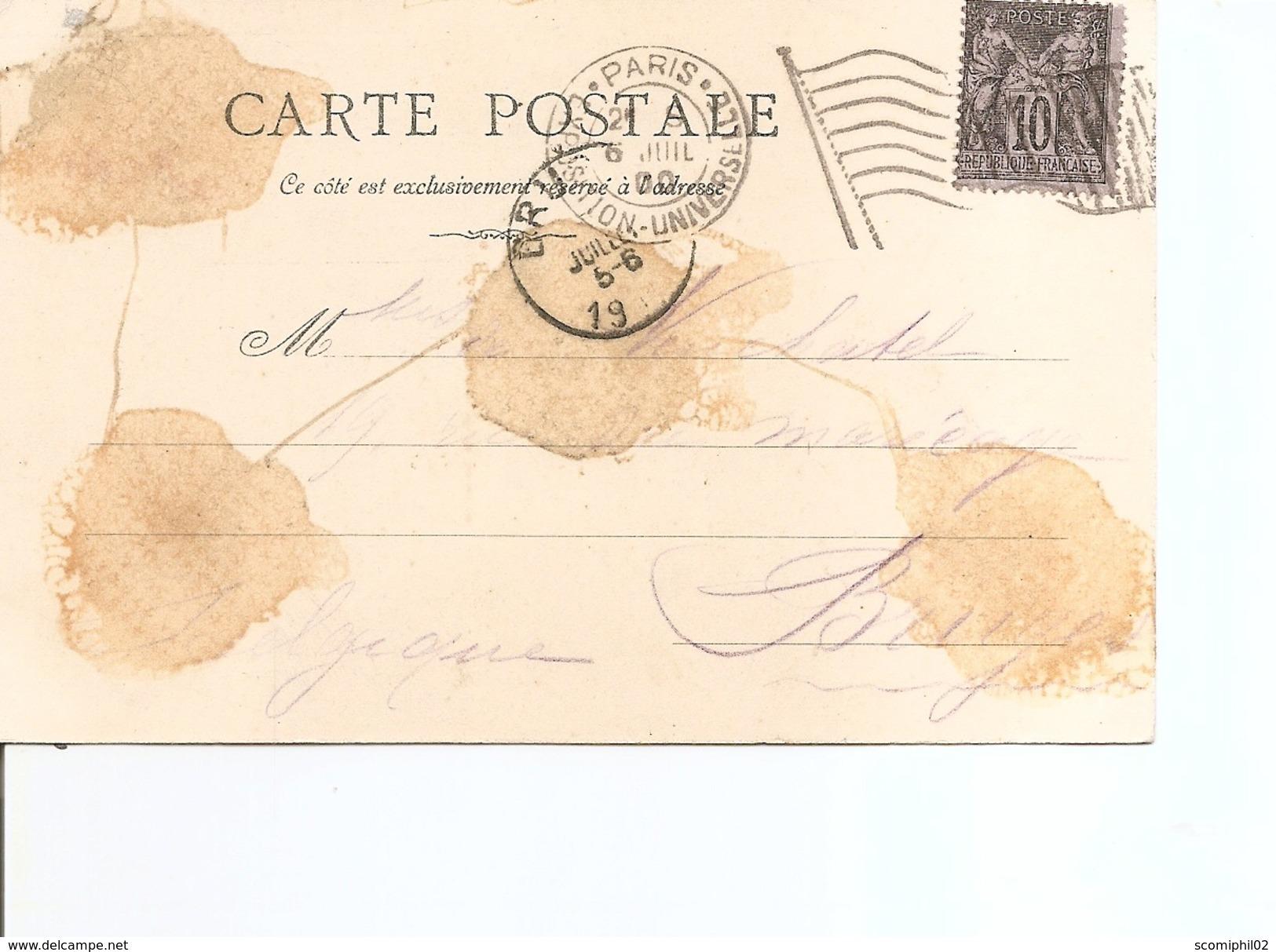Exposition De Paris-1900( CP Illustrée Avec Cachet De L'expositionet Vignette Privée Du Pavillon De Hongrie à Voir) - 1900 – Paris (Frankreich)