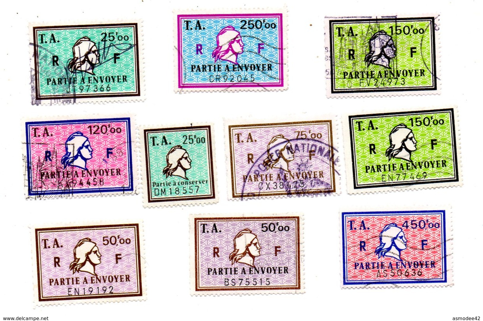 revenue stamps france timbres amendes lot de 10 timbres fiscaux h 21. Black Bedroom Furniture Sets. Home Design Ideas