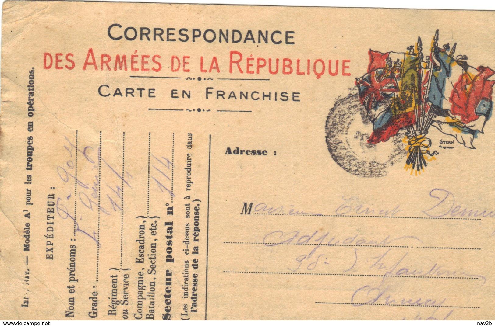 Carte En Franchise Militaire 1915 . - Marcophilie (Lettres)