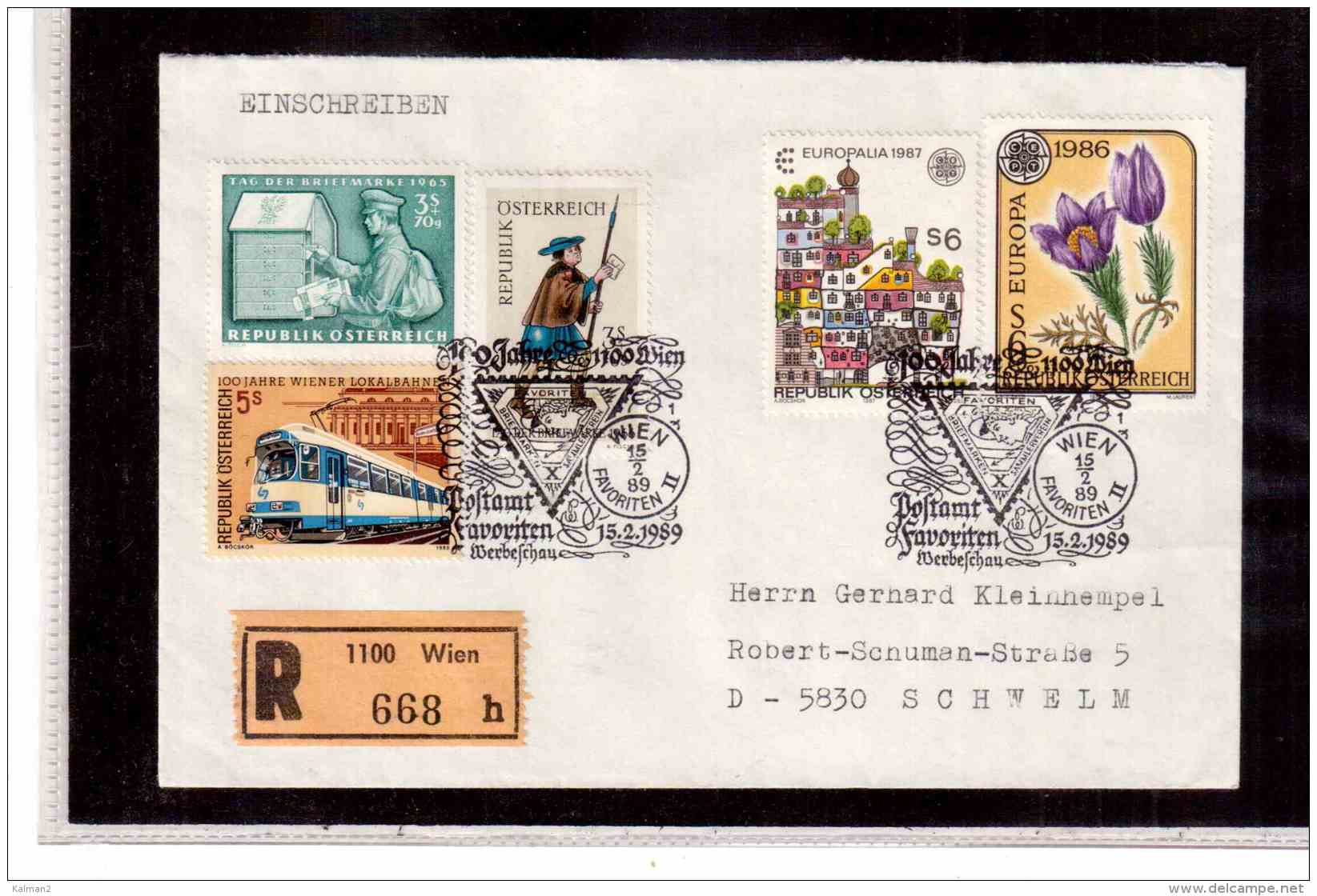 TEM9120 -   WIEN  15.2.89  / REGISTERED COVER WITH INTERESTING POSTAGE -  100 JAHRE POSTAMT - Post