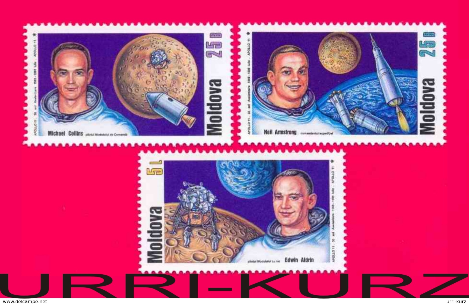 MOLDOVA 1999 Space USA Astronauts Apollo-11 First Moon Landing 30th Anniversary 3v Sc308-310 Mi312-314 MNH - Space