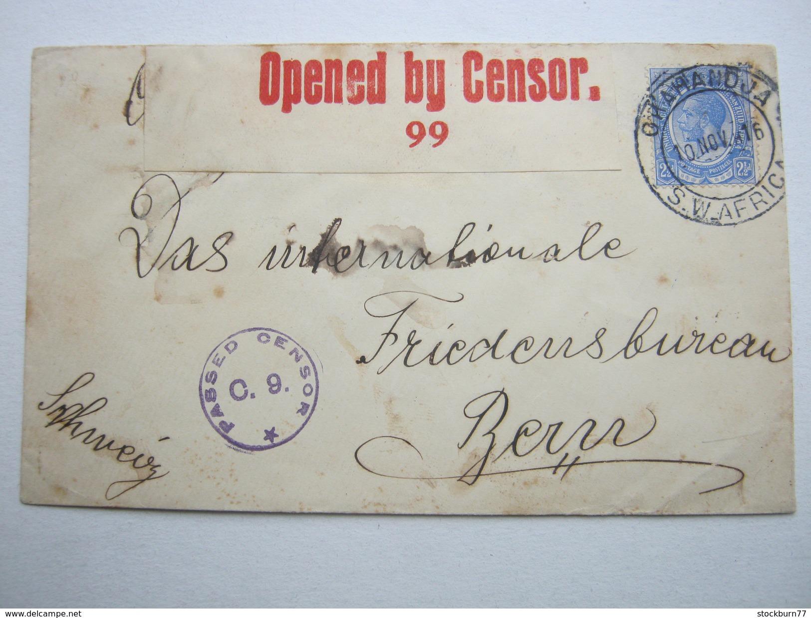 1916 , Okahandja , Brief Mit Zensur Nach Bern - Colony: German South West Africa
