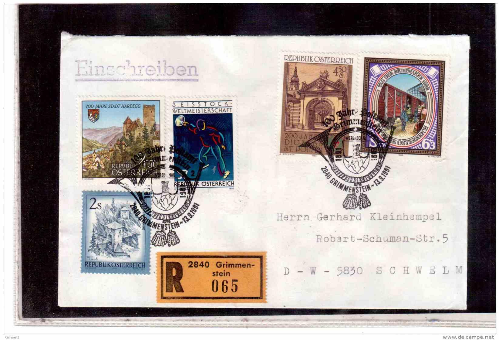 TEM9249 -   GRIMMENSTEIN 13.9.91    /  REGISTERED COVER WITH INTERESTING POSTAGE -100 JAHRE POSTAMT - Post