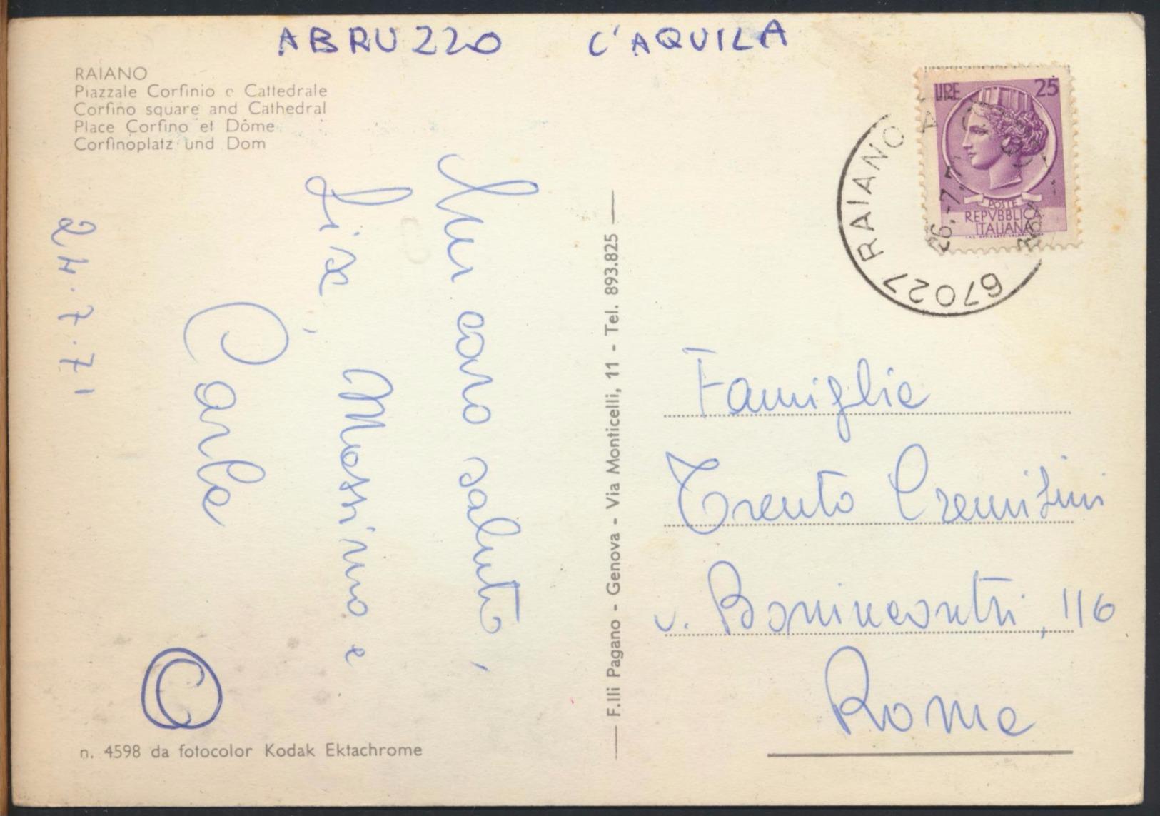 °°° 1535 - RAIANO - PIAZZALE CORFINIO E CATTEDRALE (AQ) 1971 °°° - Italia