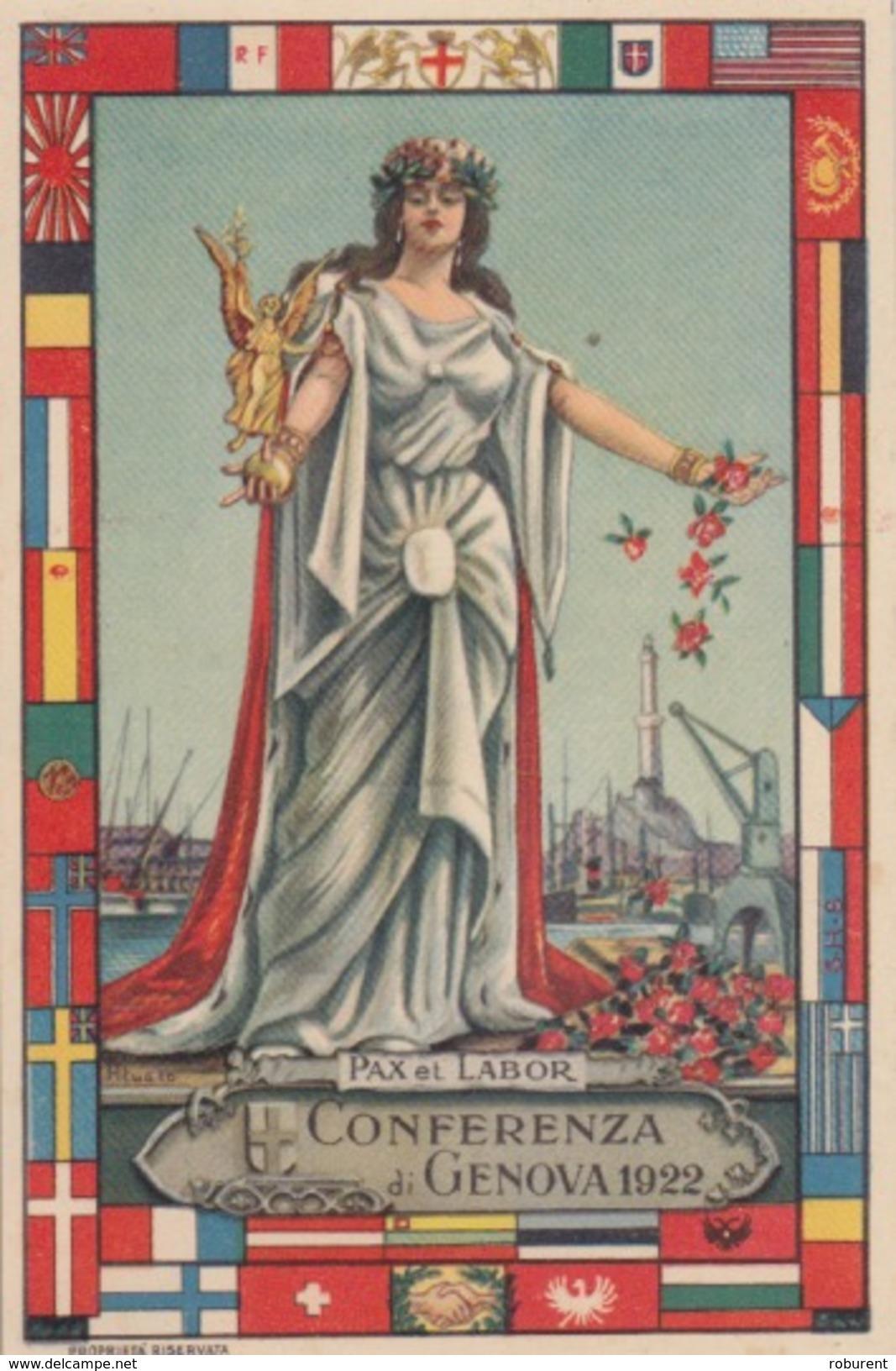 """CARTOLINA - PAX ET LABOR - """"CONFERENZA Di Genova 1922"""" - Eventi"""