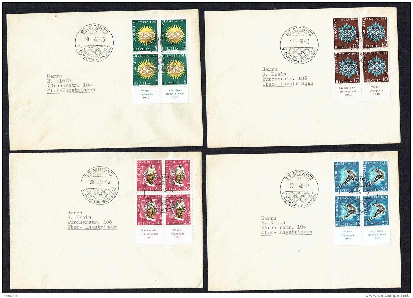 1948  Jeux Olympiques D'hiver   Blocs De 4 Sur Lettres Même Adresse Oblitération St Moritz 30-1-48 - Briefe U. Dokumente