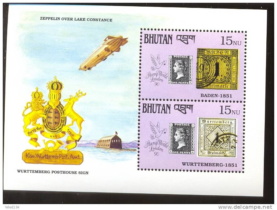 MNH BHUTAN # 912 : SOUVENIR SHEET STAMPS OLD STAMPS ; PENNY BLACK ; POSTAL HISTORY; COAT OF ARMS ; ZEPPELIN - Bhoutan