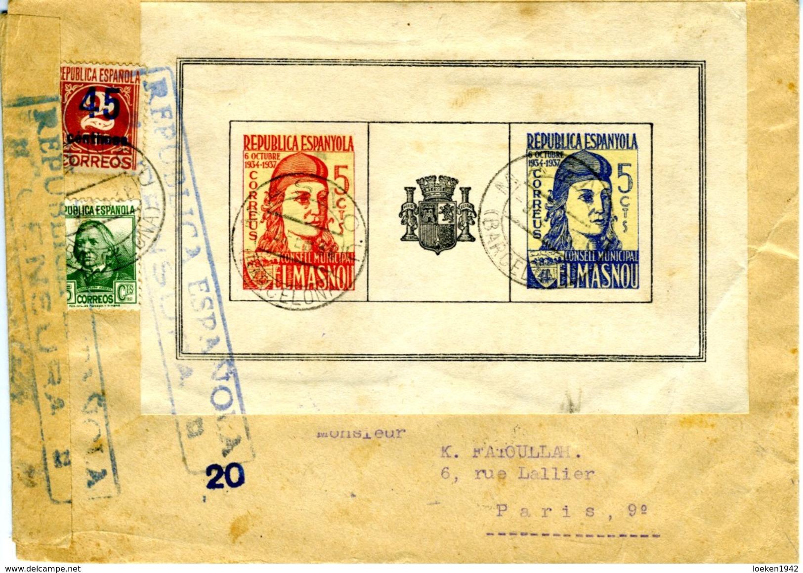 1938 GUERRA CIVIL CARTA CON VIÑETA EL MASNOU   HASTA  PARIS  ELA 2 - 1931-Today: 2nd Rep - ... Juan Carlos I