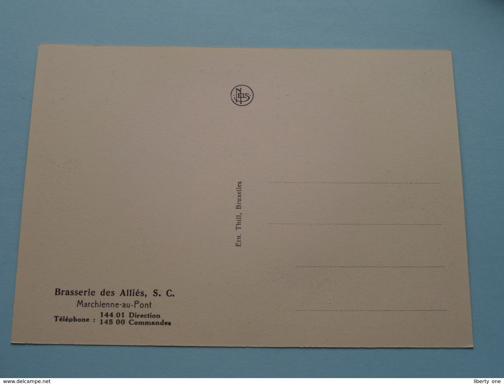 Brasserie Des Alliès, S. C. Tél 144.01 (Refrigerants) Marchienne-au-Pont - Anno 19?? ( Zie Foto Voor Details ) !! - Charleroi