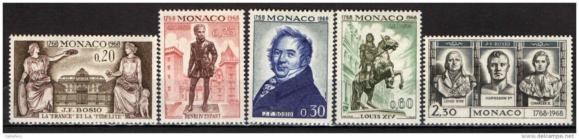 MONACO - 1968 - BICENTENARIO DELLA NASCITA DI J. F. BOSIO - SCULTORE - NUOVI MNH - Neufs