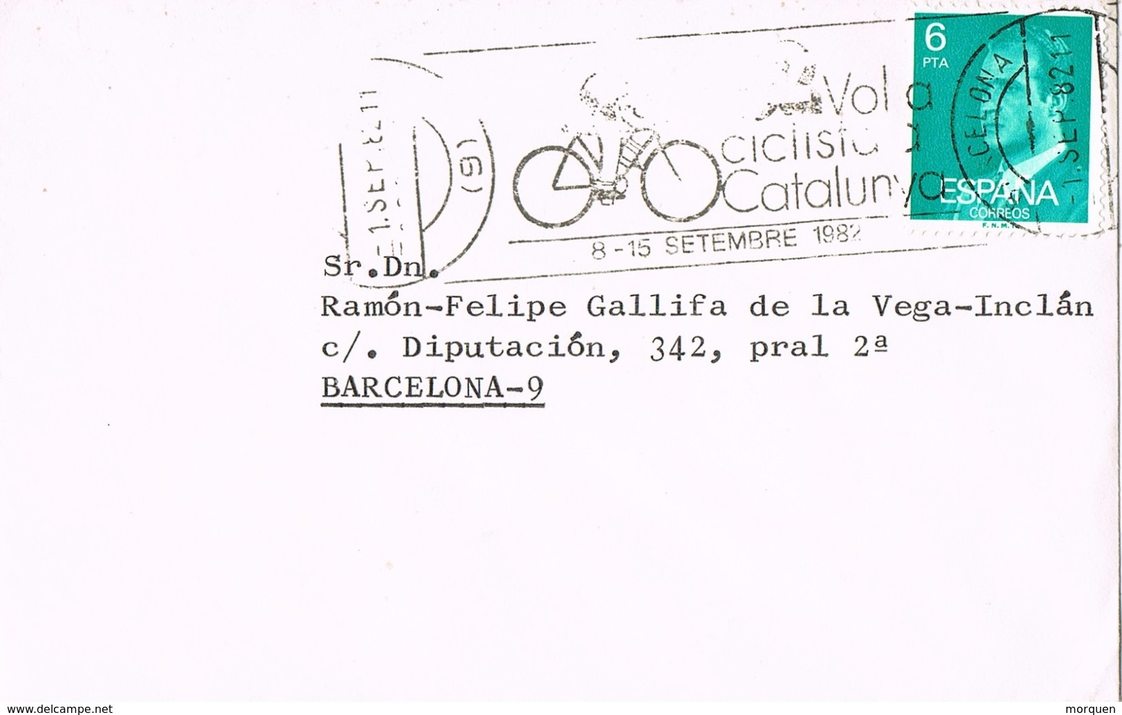 23481. Carta BARCELONA 1982. Rodillo 59 Volta Ciclista Catalunya 1982. Ciclismo, Sport - Ciclismo