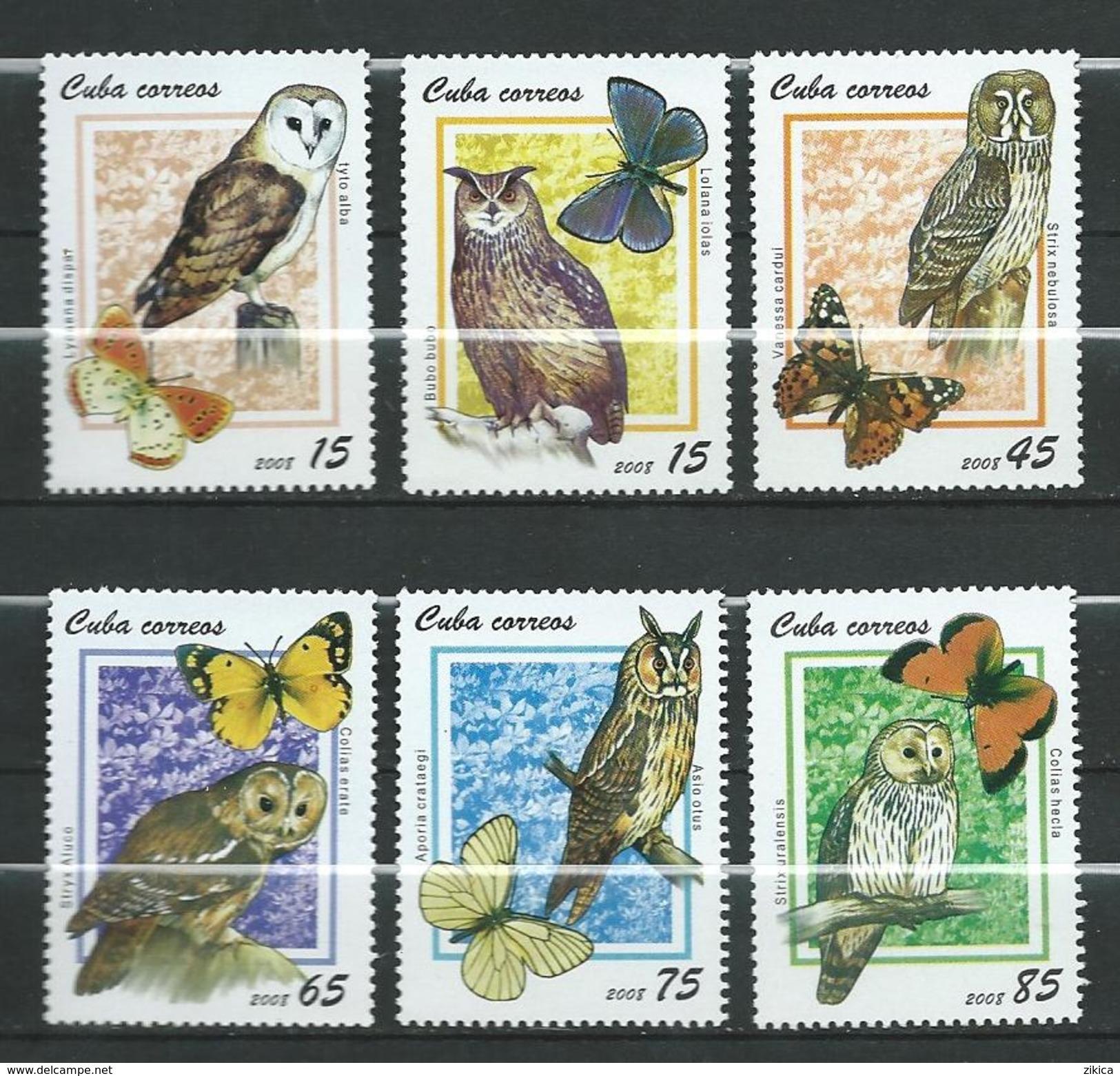 Cuba 2008.Fauna. Owl And Butterfly. Hiboux Et Le Papillon.2008 International Stamp Exhibition - EFIRO 2008.MNH - Nuovi