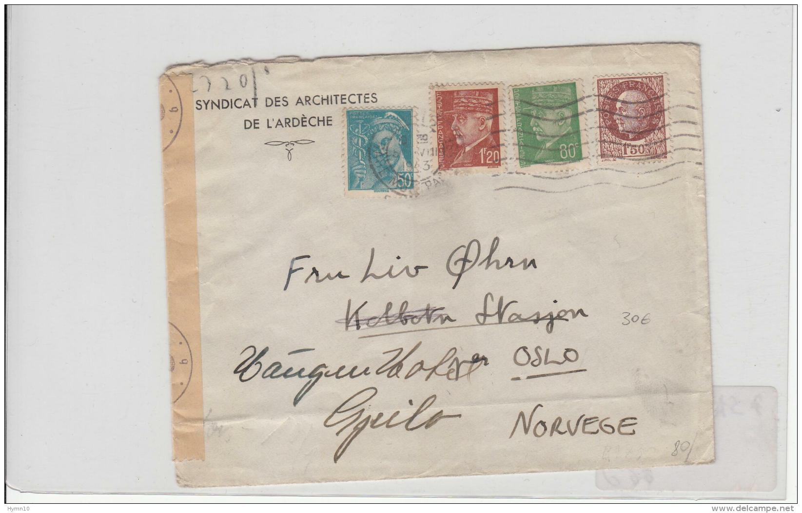 1943 Lettre ARDECHE Syndacat Architectes A Norvège-F.1,20+0,80 Petain+F.1,50+0,50+Censure -f922 - Poststempel (Briefe)