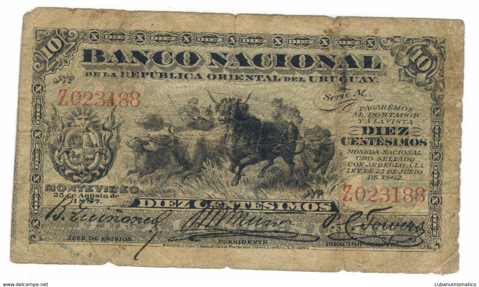 Uruguay, 10 Centesimos, 1887. G/VG,   Free Ship. To USA. - Uruguay