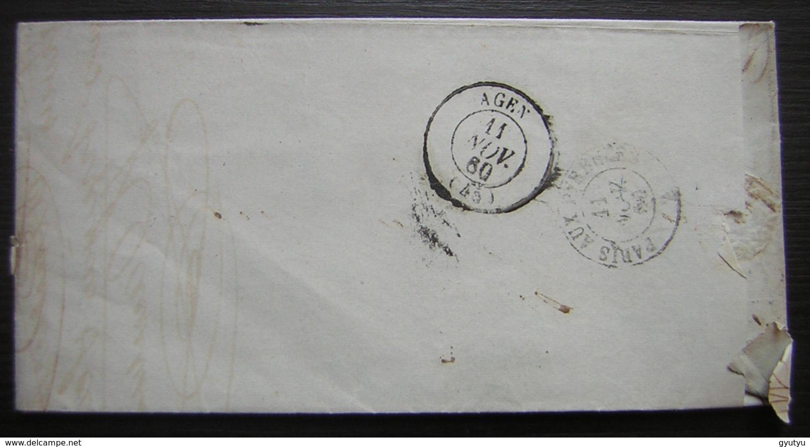 1860 Ligugé  (Vienne) Lettre Hambris Pour Agen, Cachet Bordeaux à Paris - Marcophilie (Lettres)