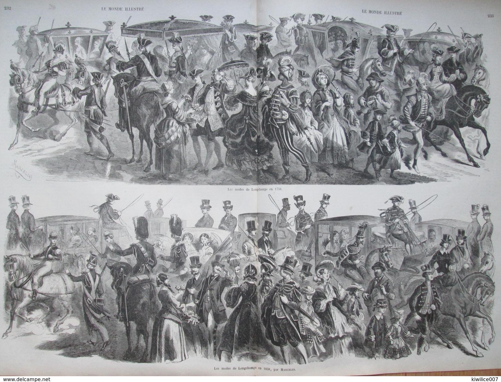 Gravure 1858  La Mode De LONGCHAMPS     En  1858 Par Marcelin  Les Deux Longchamps De Course Chevaux  Hippodrome - Vieux Papiers
