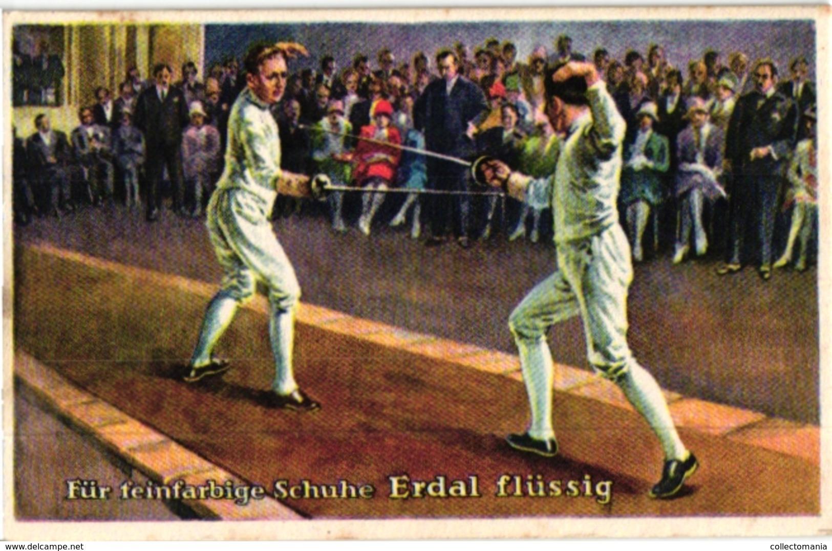 4 Trade Cards Chromo FENCING ESCRIME FECHTEN Pub Erdal - Fencing